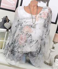 Chiffon blusa 2 capas túnica oversize flores mariposas gris blanco 38 40 42