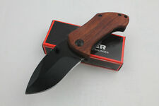 Red Acid Wood Handle Knife Tactical Folding Rescue Saber Tool Liner Lock