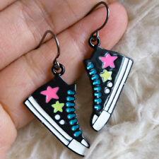 Multi-Color Stars Print Black Hook Earrings Cute Womens Metal Sport Shoes Boot