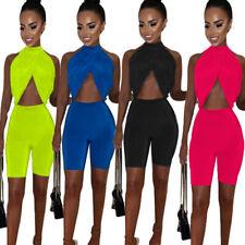 Women Halter Irregular Tops Solid Color Bodycon Jumpsuit Casual Pants Set 2pc