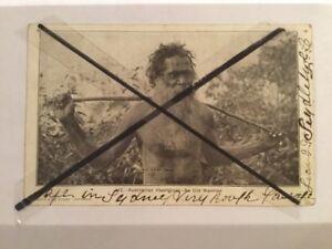 Vintage photo postcard Australian Aboriginal man with beard and wooden spear SP5