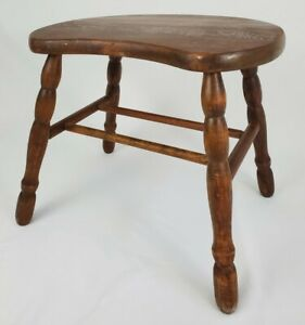 Vintage Kidney Shaped Bench Stool Table Stand Oak Wood Primitive Farmhouse