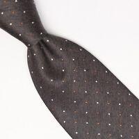 Gladson Mens Wool Silk Necktie Gray Copper White Polka Dot Weave Woven Tie Italy