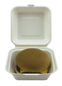 """50x Biodegradable Bagasse Takeaway Takeout Container 6""""x6"""" Hamburger Box White"""