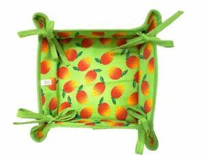 22cm, Reversible Fabric Bread Basket 100% Cotton ELICHEE Foldable Basket