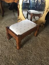 "Vtg Padded Foot Stool Ottoman Oak 15"" W"