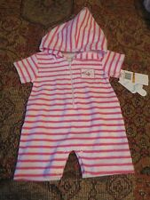 NWT NEW Kissy Kissy Pink White Striped Terry Romper Sunsuit 0-3months