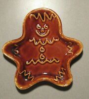 Vintage Hall USA Gingerbread Man Pottery. Brown Drip Glaze Spoon Rest Plate 5""