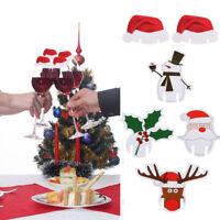10pcs Champagne Wine Glass Cup Caps Xmas Hat/Santa Christmas Party Decor DIY /LE