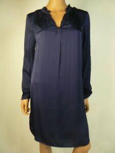 $258 Velvet by Graham & Spencer Navy Donna Satin Shift Dress S 4 6 NEW V275