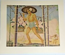 Giant Original Gill Airbrush Painting, 1930s, Hawaiian, Hawaiiana, Art Deco, Euc