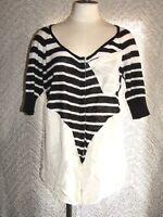 Free People Women's Striped Shirt Size Medium Black & White With Pocket Snap Up