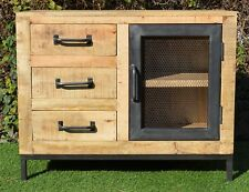 Industrial Steel Solid Timber Sideboard Metal Mesh Door Cabinet Vanity Vintage