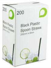 8mm Black Plastic Spoon Straws, drinking straws for slush, milkshake, smoothies