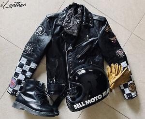 Handmade Men's Black Leather Biker Studded TRIUMPH Jacket