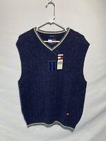 VTG Tommy Hilfiger Wool Blend Sweater Vest Blue Large 3/99 RARE Billy Madison