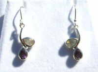 Amethyst-Mondstein facettiert Ohrhänger 925 Silber Amethyst earrings Nr. E7204