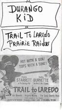 TRAIL TO LAREDO & PRAIRIE RAIDERS VHS DURANGO KID non-rental