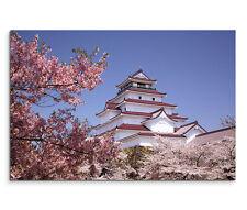 120x80cm Leinwandbild auf Keilrahmen Aizuwakamatsu Castle Japan Kirschbaum