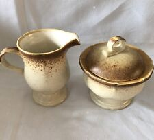 Mikasa Whole Wheat Creamer and Covered Sugar Bowl E8000 Japan Vintage Stoneware