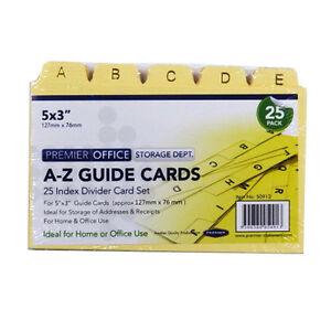 "A - Z Index Divider Guide Card Set, Pack of 25 - Size 5"" x 3"""