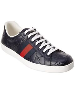 Gucci Men's Ace Embossed Guccissima Signature Sneaker - Navy Blue - 11.5 US