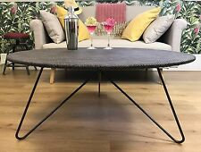 Metal & Weave Fabric Large Round Table - indoor & outside