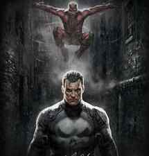 Sideshow Exclusive Marvel Knights Art Print Giclée ~ Daredevil & The Punisher