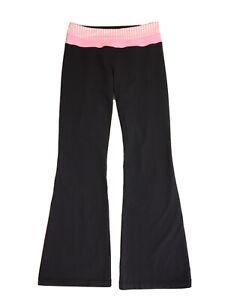 Lululemon Black Flare High Rise Yoga Pants Size 8 Pink Waistband