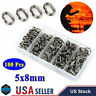 100pcs Stainless Steel Oval Split Rings Swivel Snap Fishing Tackle Connector US