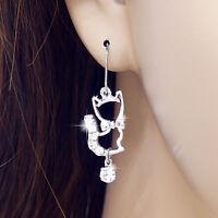 #E115A Pair PIERCED EARRINGS Hook Kitten Cat Crystal Dangle Animal Women NEW
