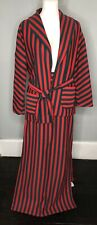 Vintage Women's Large 10 Red Green Striped Two Piece Long Skirt Suit Christmas