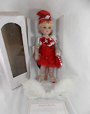"""Kinnex Candy Cane Christmas Angel Porcelain 16"""" Doll Blond Hair Feathers Hat"""