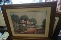 SOLID WOOD PICTURE FRAME GOLD 20x16/23x19 ANDRES ORPINAS PRINT ANTIQUE-VTG HOUSE