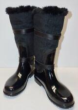 "MICHAEL KORS ""FULTON"" RAINBOOTS~BLACK w/Faux Fur Trim~Fleece Lining~SIZE 10"