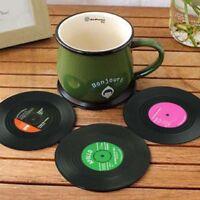6pieces / Set Spinning Retro Vinyl Disc Drink Coasters X7N7 SGH