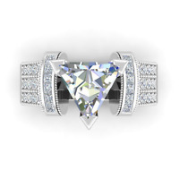 Women 925 Silver Jewelry Trillion Cut White Sapphire Elegant Ring Size 6-10