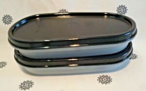 New Tupperware 2 x Modular Mates Oval #1/2 with Black Seal Pantry Storage 1 Cup