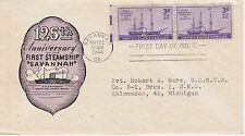 POSTAL HISTORY WORLD WAR II WWII 1944 125TH ANNIV. 1ST STEAMSHIP SAVANNAH FDC #1