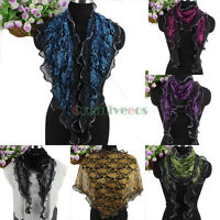 Women's Vintage Floral Lace Mesh Wave Edge With Glitter Triangle Scarf Shawl New