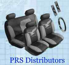 CAR SEAT COVERS Synthetic Leather GRAY BLACK in 11 Pieces Gift