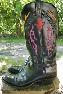 Lucchese Classic Handmade USA Black/Pink/Orange Cowgirl Boots L1199 Women's8