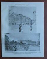 WBd) Architektur Linz 1907-1910 Wettbewerb Verbauung Trainkaserngründe 24x31cm
