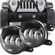 Black Pair 4 Inch Round Led Fog Lights Driving Lamps For Jeep Wrangler Jk Cj Tj