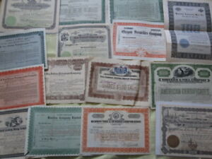 Lot of 15 Early Miscellaneous Vintage Stock Certificates Scripophily
