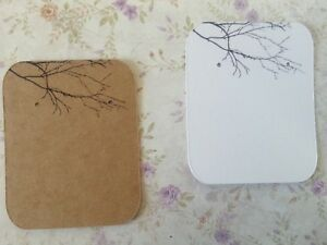 10/50/100 Earring Display Cards Jewellery Studs - Kraft Brown/White B&W Branches