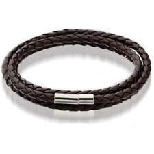 New Fashion Womens Mens Black Leather Interlaced Cuff Bangle Wristband Bracelet