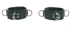 """D Ring Wide Leather Arm Band Buckle Adjustable Fetish BDSM Pair 12""""-17"""""""