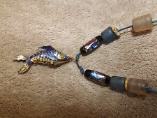 CLOISONNE FISH PENDANT NECKLACE ARTICULATED GOLD TONE METAL OLD CHINESE EXPORT