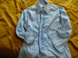 Vintage 60's 70's Palm Beach Size 31-32 Ruffled Tuxedo Shirt USA Light Blue